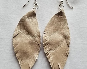 Pearly White Leather Feather Earrings