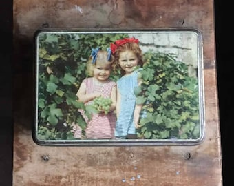 """Vintage French colored tin box """"Children with grapes"""", biscuit or sugar metallic rectangle box"""