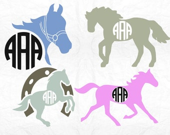 Horseshoe monogram svg, Horse svg, Horse monogram svg, Western svg, SVG Files, Cricut, Cameo, Cut file, Files, Clipart, Svg, DXF, Png, Eps