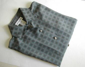 Woman silk blouse, Georges Rech,  grey, size M, vintage clothes