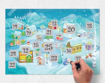 Scratch North Pole Advent Calendar - Christmas, gift, children, north pole, gift for him, gift for her, kids, Free Shipping