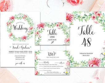 Printed Wedding Invitation SET, Digital Invitation, Eucalyptus Flower Wreath, Flower, Gerber Leaves, Wedding Invitation, WeddingInv7