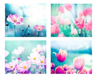 pink flower prints photography set of 4 botanical art prints tulip prints floral art flower photography nursery art prints pink aqua blue