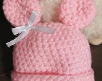 Preemie Pink Minnie Mouse baby girl beanie cap hat