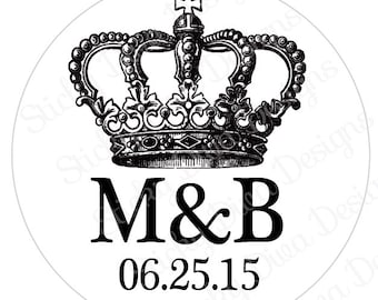 PERSONALIZED WEDDING STICKERS - King Crown Monogrammed Labels - Round Gloss Labels