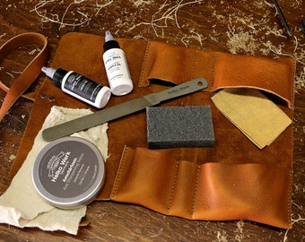 Axe Maintenance Kit - with leather tool roll, sharpening stone, file
