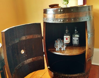 Whiskey Barrel Liquor Cabinet ~ Handcrafted From A Reclaimed Whiskey Barrel With Door