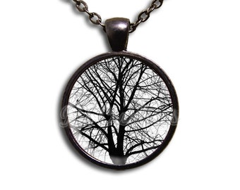 Tree Winter Nature - Round Glass Dome Pendant or with Necklace by IMCreations - NT113