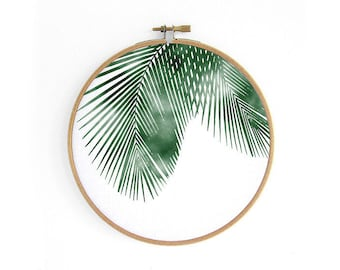 Palm // embroidery hoop, urban jungle, wall decoration art by renna deluxe