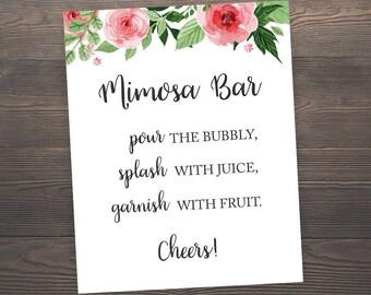 Mimosa Bar Sign, Printable Wedding Bar Sign, Bubbly Bar Sign, Floral Wedding Decor, Mimosa Bar Printable, Mimosa Sign, Bubbly Sign, J003