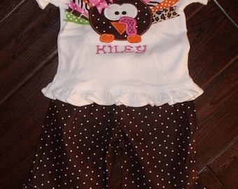 Boutique Girls Turkey Shirt and Ruffle Pant 2 Piece Set Sizes 3M to 8