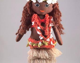 Handmade Hawaiian Rag Doll. 40cm