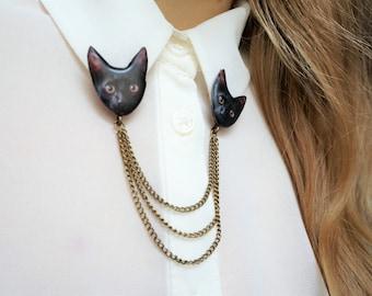 cat brooch , cat lapel pin , collar pins , collar brooch , collar chains , chain brooch , chain pins , chain collar