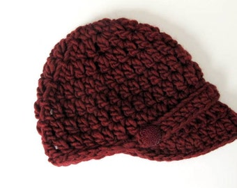Elena Chunky Crocheted Women's Brimmed Hat in Cranberry