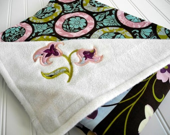 girl baby blanket modern floral pink brown purple aqua