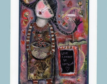 Special Price Free Shipping Mixed Media Painting Collage Print  Modern Folk  Heart girl braids woman love encourage affirming