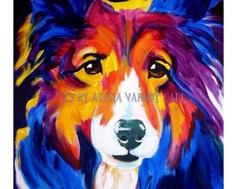 Shetland Sheepdog,Pet Portrait, DawgArt, Dog Art, Pet Portrait Artist, Colorful Pet Portrait, Sheltie Art, Pet Portrait Painting, Art Prints