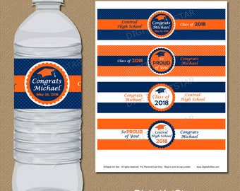 Personalized Graduation Party Favors, Water Bottle Labels, College Graduation Party Printables, Class of 2018 Label Orange and Navy Blue G6