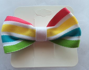 Spring Colored Stripes Classic Grosgrain Boutique Bow, Hair Bow, Hair Accessory, Yellow, Green, Blue, Pink, White Stripes, Girls, Toddler