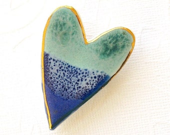 SALE! Heart Brooch. Light Jade Green. Cobalt Blue. Ceramic. Ocean Blue. Mint Green. Blue-Green. Sapphire Blue. Clay. Porcelain. 22K Gold