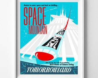 Disneyland Vintage, Disney Poster, Disneyland Print, Space Mountain, Disney, Tomorrowland, Fantasyland, Reproduction, Halloween