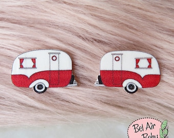 Vintage 1950s Camper Caravan Earrings / Pin / Pinup / 1950s / Vintage / Rockabilly / Retro / Camping / Glamping / Studs