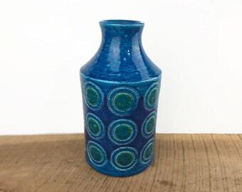 Aldo Londi for Bitossi Rimini Blue Circle Pattern Vase//Rosenthal Netter//Italian Modernist Ceramic Vase//Made in Italy