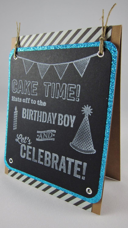 handmade chalkboard sandwich board birthday card boy. Black Bedroom Furniture Sets. Home Design Ideas