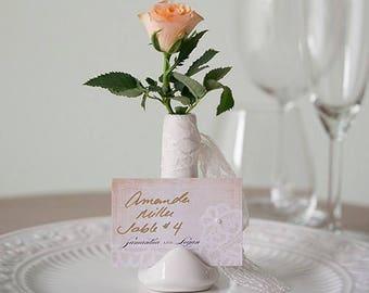 White Wedding Table Place Card Holder Ceramic Vase - Pack of 6