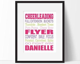 Cheerleader Gifts, Cheerleader Wall Art, Girl Teen Room, Gift for Cheerleader
