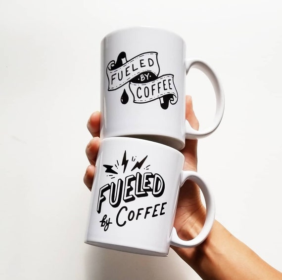 "Handmade Joshua Red ""Fueled By Coffee"" Coffee Mug - Hand Drawn Coffee Cup - Handmade Coffee Mug"