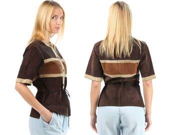 Vintage Boho Top 70s Suede Top Button Down Brown Retro Shirt Top Drawstring Waist Leather Top Boho Girlfriend Gift . Medium SKU 5081