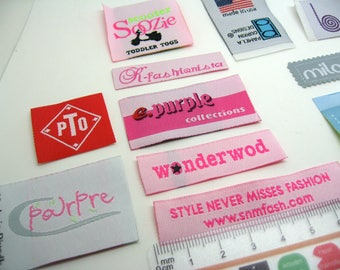 50 only text woven labels,  clothing labels, custom woven labels, sewn on labels, fabric labels