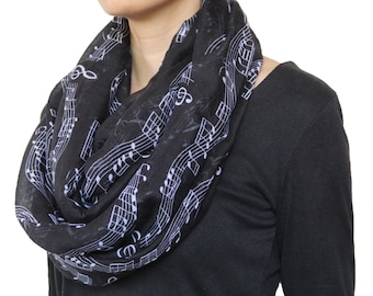 Musical Note Printed Infinity Scarf Black and White For Music Lover