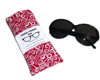 Valentines Day Gift For Her, Fabric Sunglass or Eyeglass Case, Padded Glasses Case Holder, In Red and White