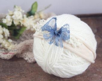 Newborn Bow Tieback, Baby Tieback Headband, Newborn Photo Prop, Newborn Tie Back, Newborn Vintage Headband, Bow Headband, Blue, Cream, Lace