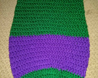 Inspired by the Incredible hulk.  baby cocoon. Green and purple