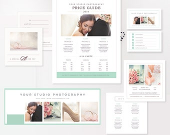 Wedding Photographer Marketing Set - Photo Business Cards - Pricing Templates for Photographers - Price Guide, Gift Card, Timeline