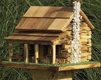 Amish Rustic Handmade Log Cabin Bird Feeder With Rock Chimney