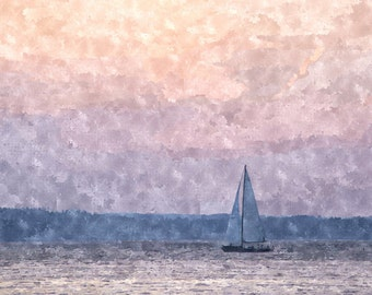 Instant Download Sailboat at Sunset, Lavender Ombre Watercolor Painting, Printable Seattle Photo Art