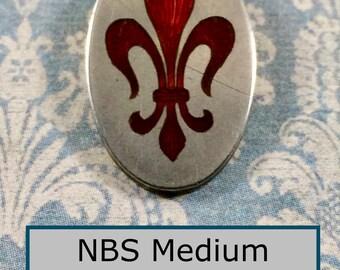 Lovely Antique Sterling Silver Oval with Red Basse Taille Enamel Fleur-de-lis NBS Medium Enamel