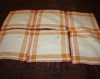 Apricot Plaid Linen Napkins-set of six