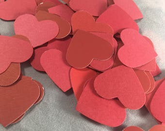 Shades of Red Heart Die Cuts   Confetti Table Scatter  Valentines Day Valentines Party  100 count