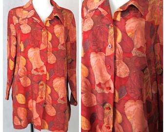 Vintage 80's Shirt Blouse Oversize Bright Orange/Red Leaf Print UK14/16 EU40/42