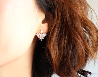 Royal Floral earrings, bridal Crystal earrings, bridesmaid earrings, flower earrings, Floral stud earrings, Fashion Jewerly, elyseejewelry