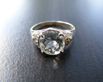 S13 Made to Order...Solid Sterling Silver or Solid Gold Antique Filigree ring 3 carat Round Brilliant Cut White Topaz Gemstone