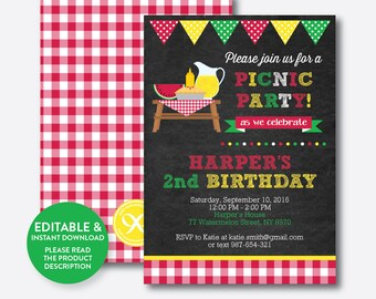 Instant Download, Editable Picnic Birthday Invitation, Picnic Invitation, Picnic Party Invitation, Pink Gingham Invite, Chalkboard (CKB.120)