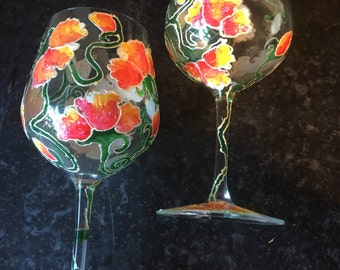 Hand painted unique wine glasses