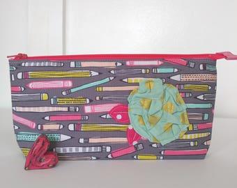 Pencil fabric zipper pouch