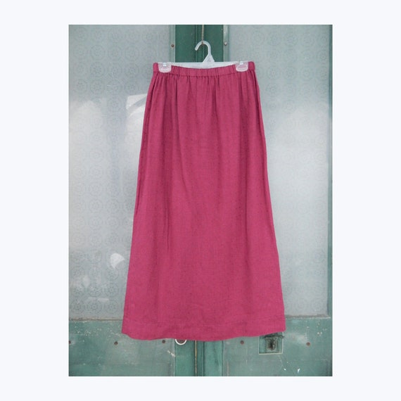 FLAX Designs Simple Straight Skirt -M- Berry Dot Linen